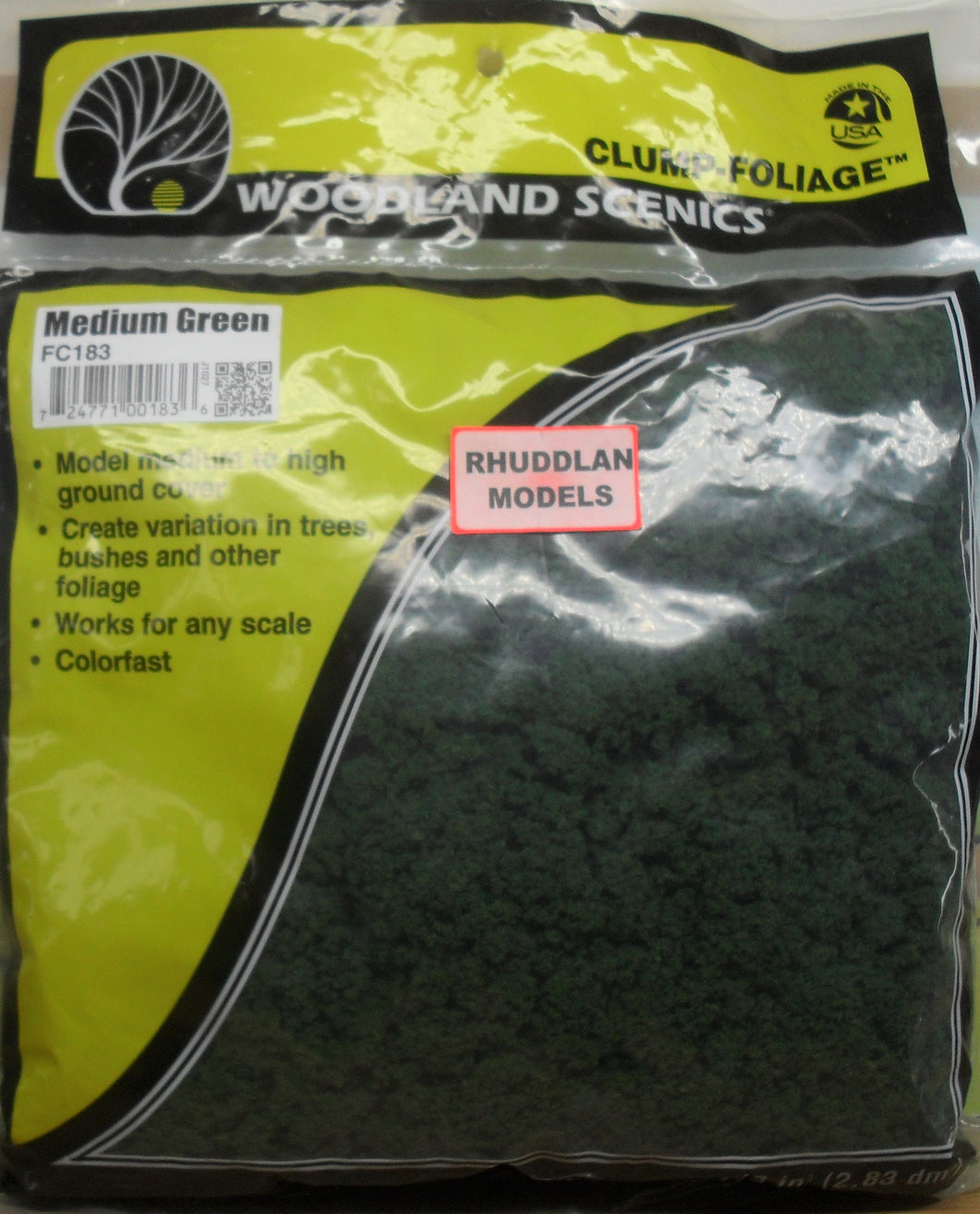 WOODLAND SCENICS FC183 CLUMP FOLIAGE MEDIUM GREEN - (PRICE INCLUDES DELIVERY)