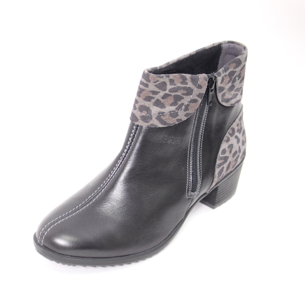 427 Suave Alicia Black/Leopard Ladies Ankle Boot Size 4