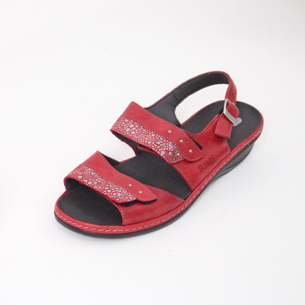 393 Suave Hayley Red/Shimmer Ladies Sandal size 4