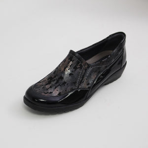 414 Suave Jan Black Patent/Night Ladies Casual Shoes size 4