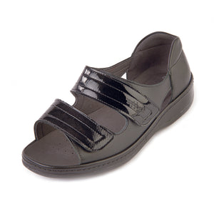 288 Sandpiper Cheryl Black/Patent Extra Wide Sandal size 4