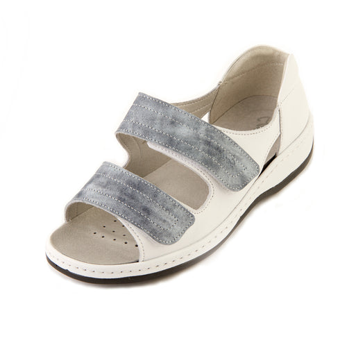 327 Sandpiper Cheryl White/Blue Mist Ladies extra wide sandal size 4