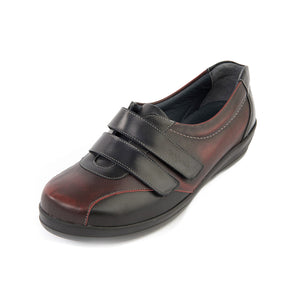 196 Sandpiper Foscot Black/Burgundy Extra Wide Shoes size 4