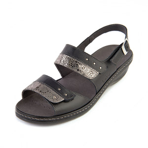 325 Suave Hayley Black/Shimmer Ladies sandal size 4