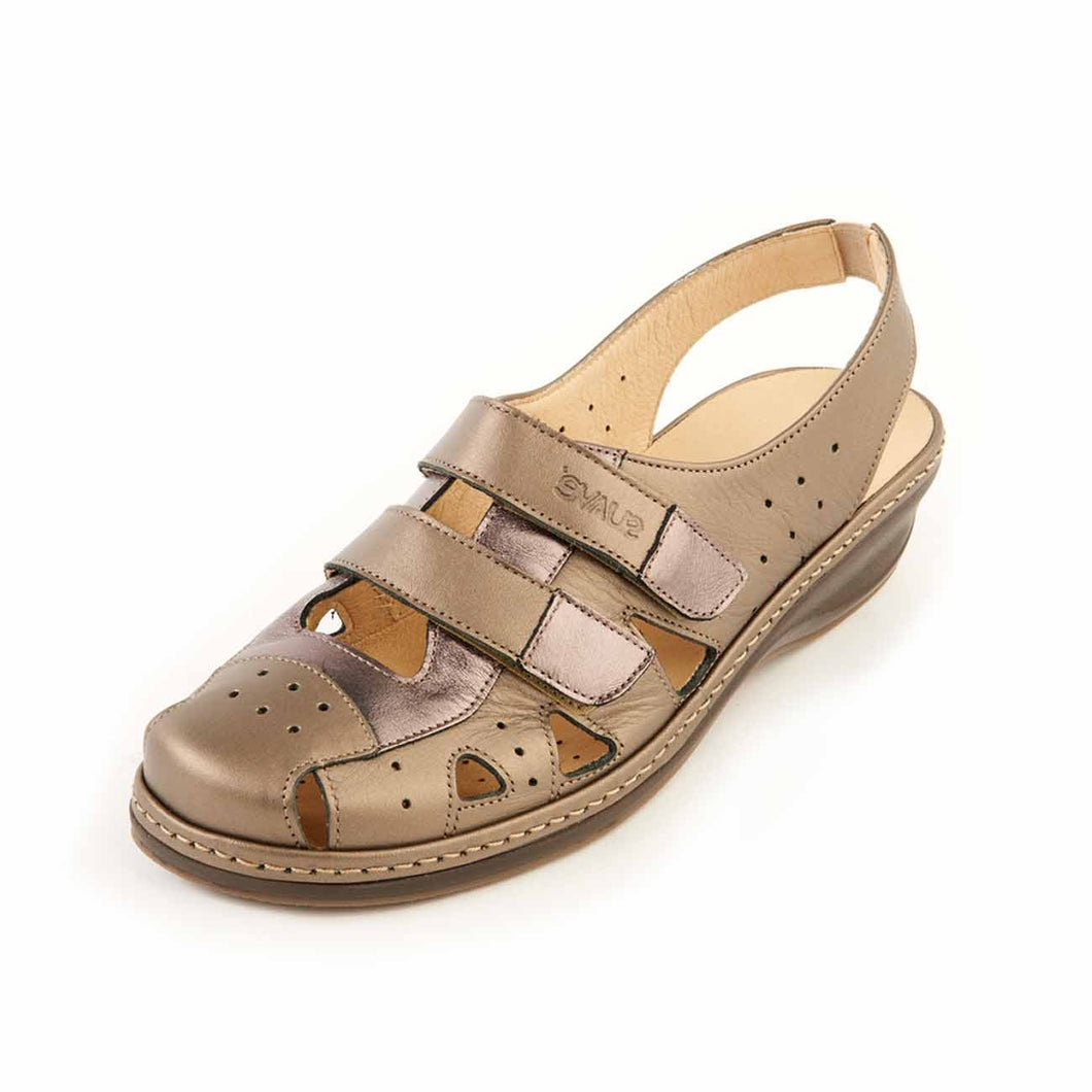 321 Suave Holly Antique Gold/Gunmetal Ladies Sandal size 4