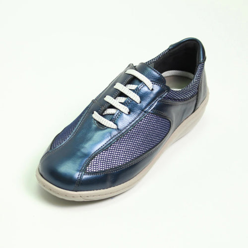 064 Footsoft Navy Multi Lace Casual Shoe size 4