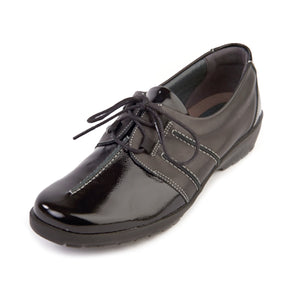 153 Suave Joan Black/Patent Casual Lace Shoe size 4