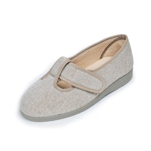 296 Sandpiper Tracy Beige Extra Wide Slippers size 4