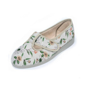 253 Sandpiper Tracy Beige Floral Extra Wide Slipper size 4