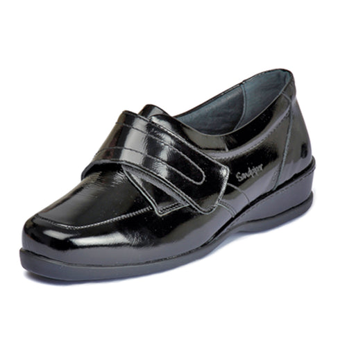 Sandpiper Wardale Extra Wide 6E Black Patent Casual Shoes size 4