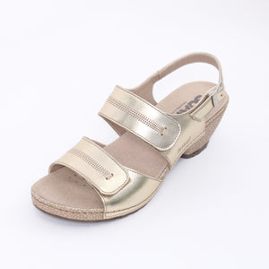 314 Suave Ladies Gold Sandal Size 4