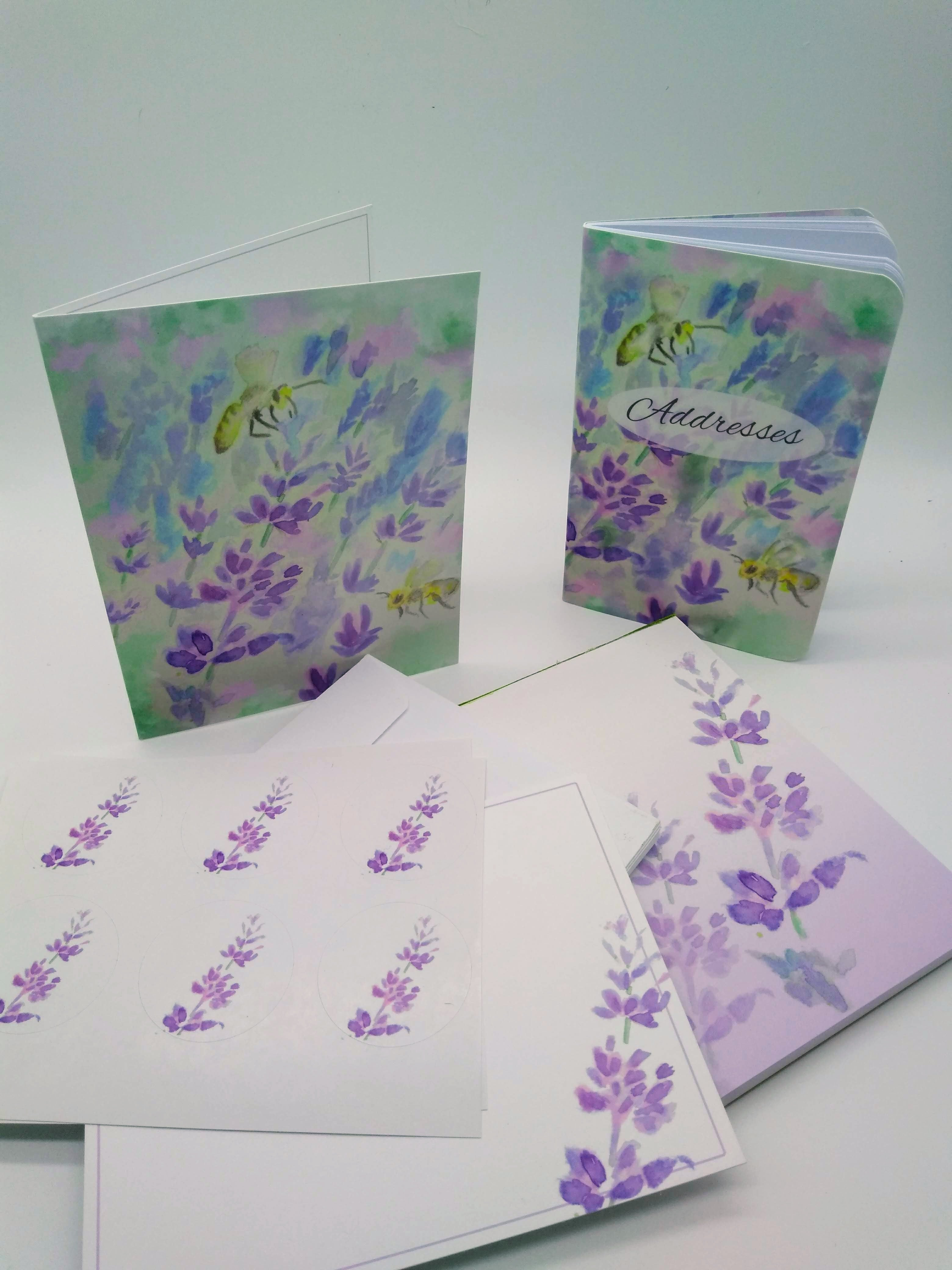Complete Stationery Set-Bees and Lavender
