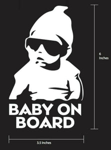 "Hangover Baby on Board Vinyl Decal ""Baby Carlos"" Vehicle Decal White Color"