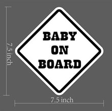 Load image into Gallery viewer, BABY ON BOARD Window Decal/Sticker White 7.5″H