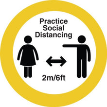 "Load image into Gallery viewer, 12"" Circle Please keep Your Social Distance Floor Sticker 10 pack"