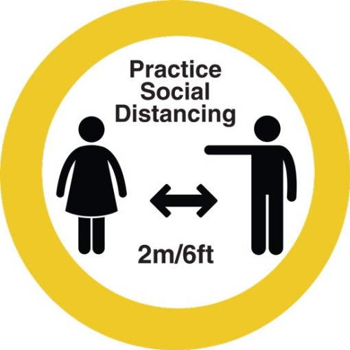 "12"" Circle Please keep Your Social Distance Floor Sticker 10 pack"