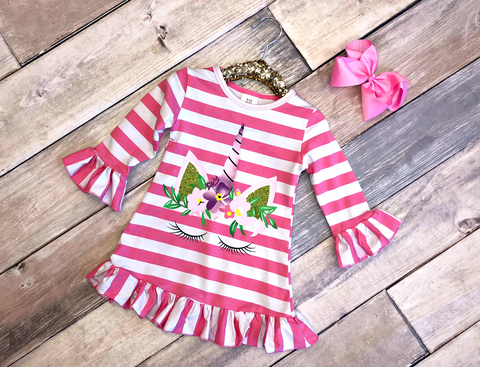 Unicorn Stripe Dress-Pink