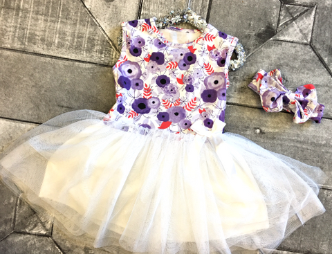 Purple Poppies Tutu Dress