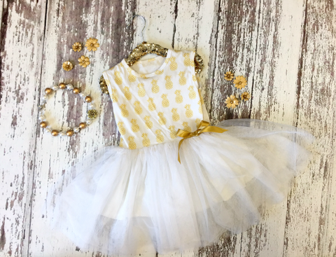 Golden Pineapple Tutu Dress