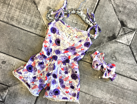 Purple Poppies Romper