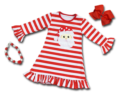 Santa Stripe Ruffle Dress