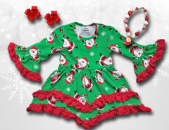 Joyful Santa Ruffle Dress
