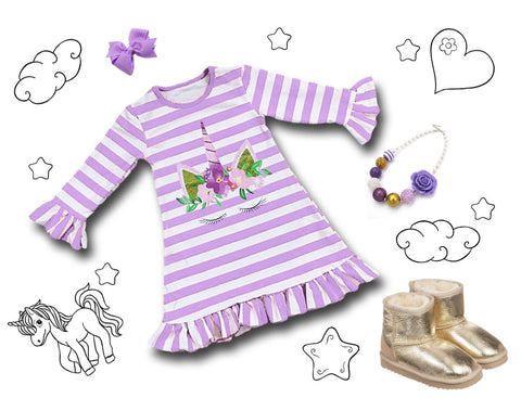 Fancy Unicorn Stripe Dress