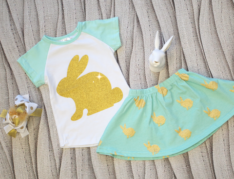 Golden Bunny Skirt Set