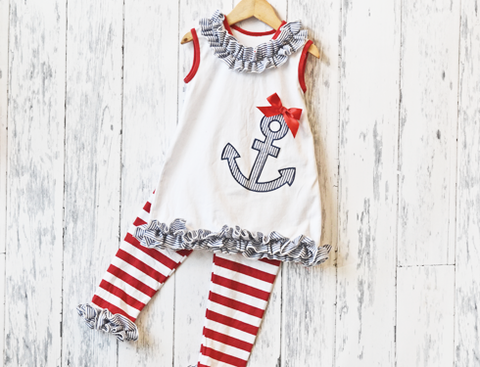Ruffle Anchor Capri Set