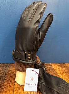 Warm Lined Button Leather Glove Brown