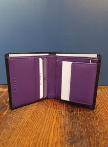 RFID Small Wallet | Black/Amethyst