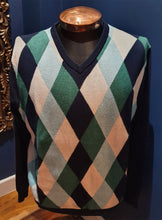 Load image into Gallery viewer, Argyle  Blue/Green Jumper