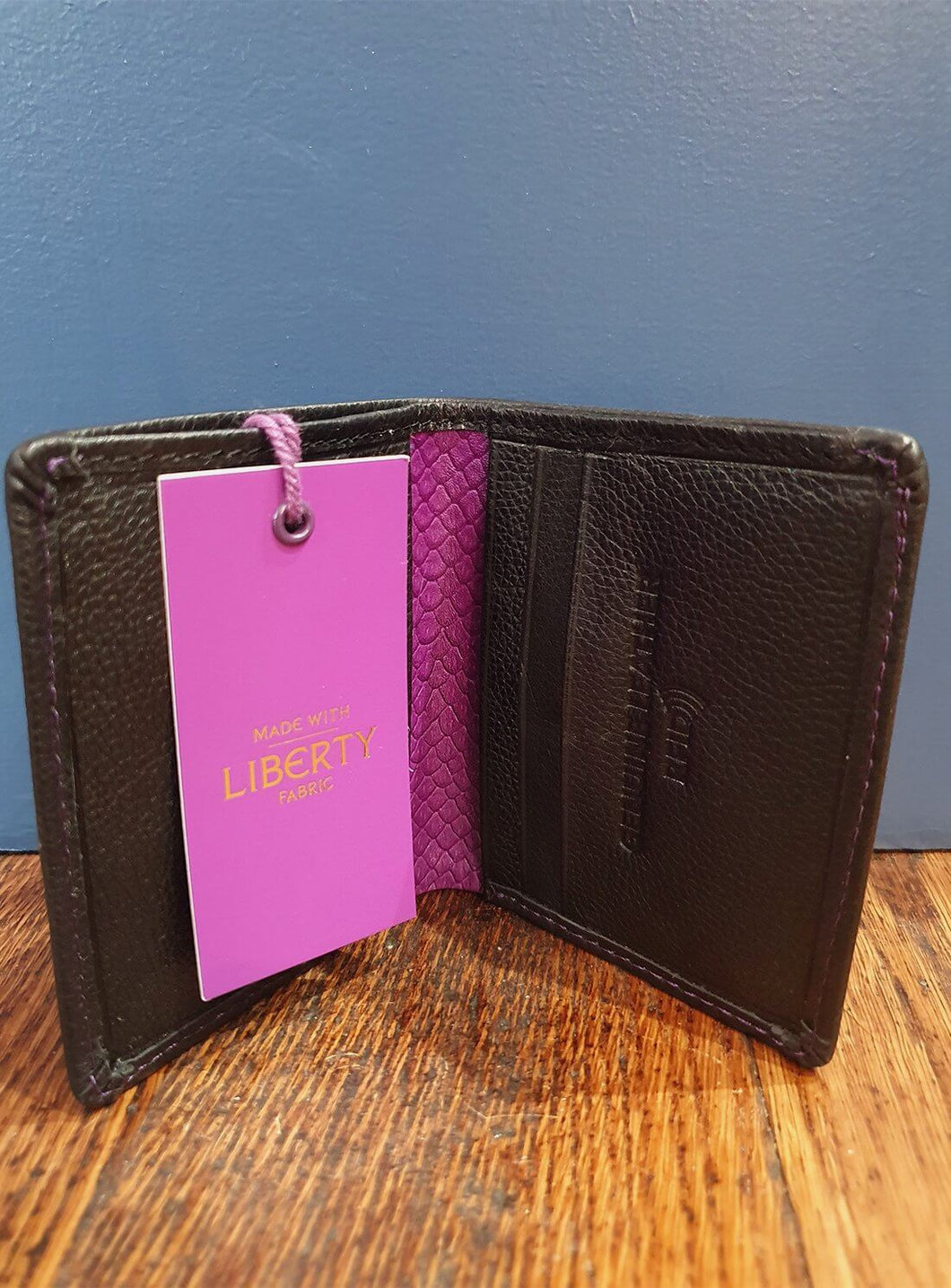Leather Card Holder | Liberty Fabric Trim