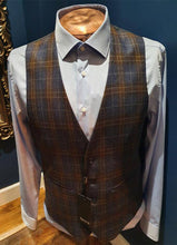Load image into Gallery viewer, Blue Tartan Wool  Waistcoat