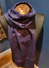 Load image into Gallery viewer, Reversible Scarf | Navy/Purple & Spot