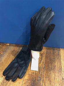Black Leather Glove with Red Silk Lining