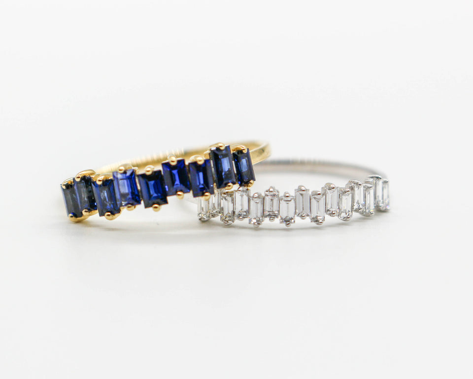 Blue sapphire Baguette Ring and Lab Grown Diamond Mini Baguette Ring