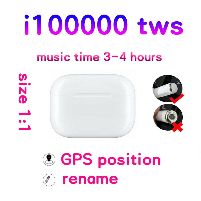 i100000 TWS Air Pro Earbuds Noise Cancelling Headset Tap Control Earphone  PK i200 i500 i9000  audifonos bluetooth inalambrico