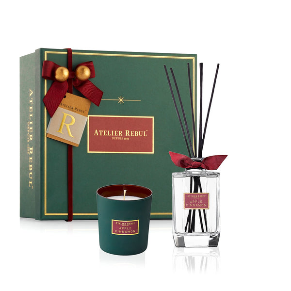 Apple Cinnamon Giftset with Fragrance Sticks & Scented Candle | Atelier Rebul Webshop