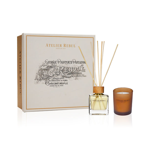 Amber Gift Set with Fragrance Sticks and Scented Candle | Atelier Rebul Webshop