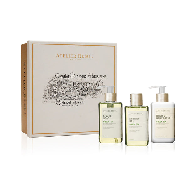 Green Tea Liquid Soap, Shower Gel and Hand & Body Lotion Giftset | Atelier Rebul Webshop