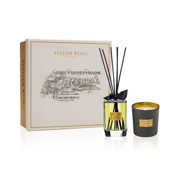 Hemp Leaves Fragrance Sticks and Scented Candle Giftset | Atelier Rebul Webshop