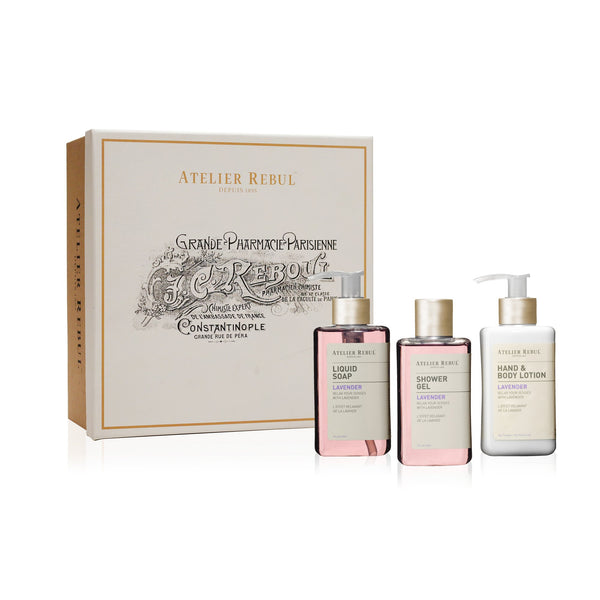 Lavender Giftset with Liquid Soap, Shower Gel and Hand & Body Lotion | Atelier Rebul Webshop