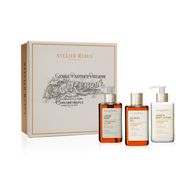 Lemongrass & Honey Liquid Soap, Shower Gel and Hand & Body Lotion Giftset | Atelier Rebul Webshop