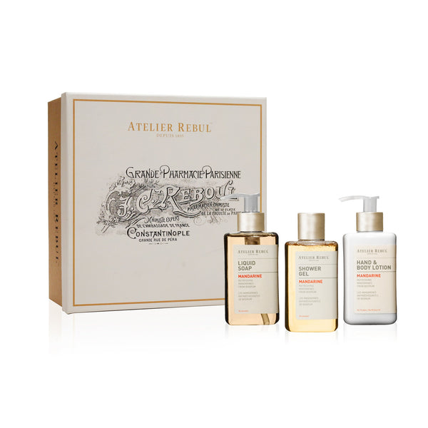 Mandarine Liquid Soap, Shower Gel and Hand & Body Lotion Giftset | Atelier Rebul Webshop