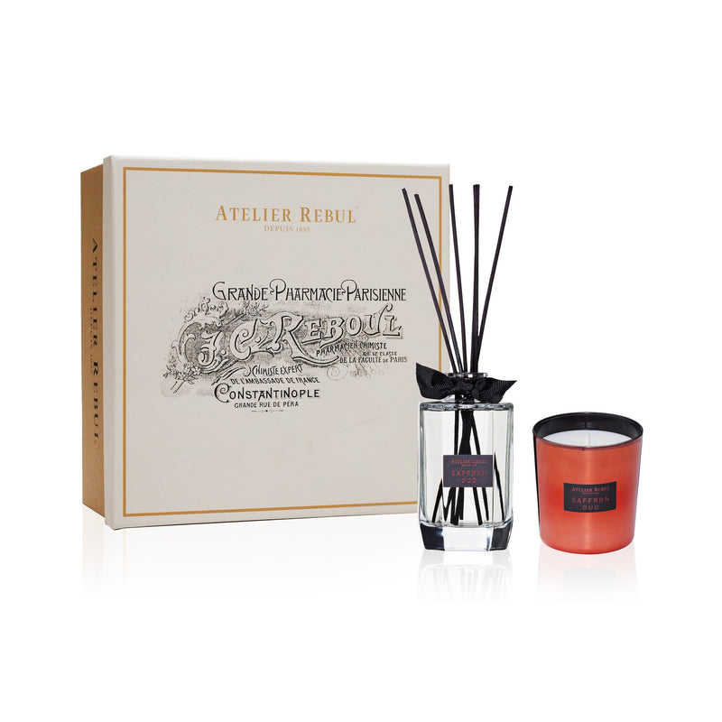 Saffron Oud Fragrance Sticks and Scented Candle Giftset | Atelier Rebul Webshop