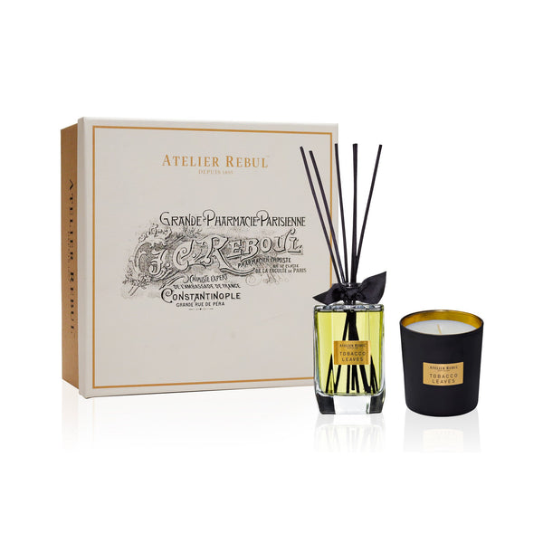 Tobacco Leaves Fragrance Sticks and Scented Candle Set | Atelier Rebul Webshop