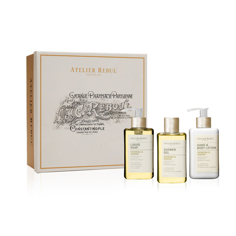 Verbena & Ginger Liquid Soap, Shower Gel and Hand & Body Lotion Giftset | Atelier Rebul Webshop