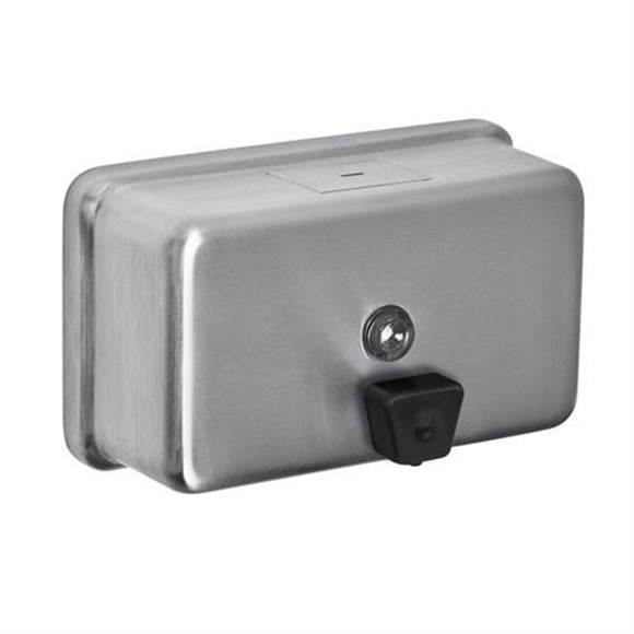 A&J Washroom U124 Surface Mounted Stainless Steel 40 oz. Horizontal Soap Dispenser
