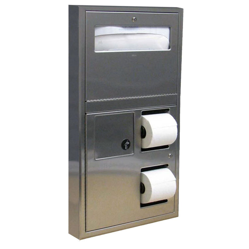Bobrick B-357 Seat Cover & Toilet Paper Dispenser with Napkin Disposal